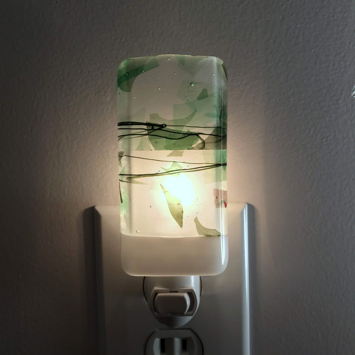 Bathroom Lights With Plugs glass night light - white and green confetti kitchen or bathroom