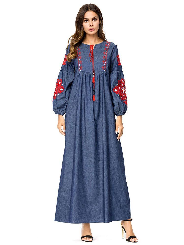 DenimDress Ethnic Embroidery Denim Dress Women Muslim Long Sleeve Jilbab Islam  Abaya Robe - Denim 36be47e8e3b3