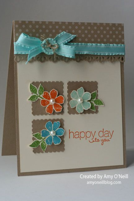 I chose this happy color scheme of Pumpkin Pie, Pool Party, Tempting Turquoise, Gumball Green, and Crumb Cake for the card.  I love these colors together.