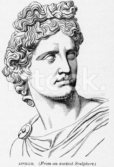 Vintage engraving of Apollo Ancient Greek God of light and the sun