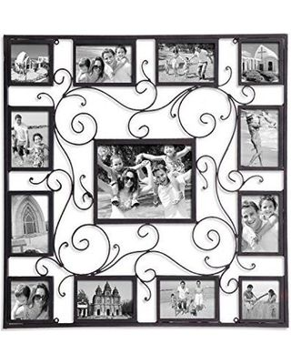 Adeco Decorative Black Metal Wall Hanging Collage Picture Frame With Scroll Design 13 Openings 8x10 4x6 4x4 3 With Images Wall Collage Hanging Wall Decor Hanging Pictures
