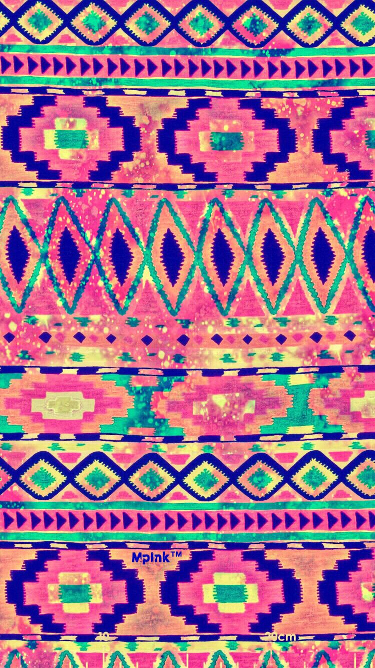 Colorful Aztec Pattern iPhone/Android Wallpaper I Created