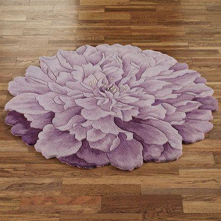 Delia Bloom Flower Shaped Round Rugs Round Rugs Mauve Bathroom Rugs