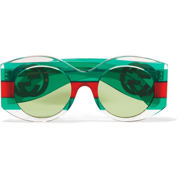 4e901bca02c Gucci Round-frame striped acetate sunglasses ( 410) ❤ liked on Polyvore  featuring accessories