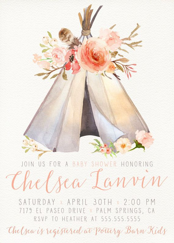 celebrate your special event with this unique invitation! boho, Baby shower invitations