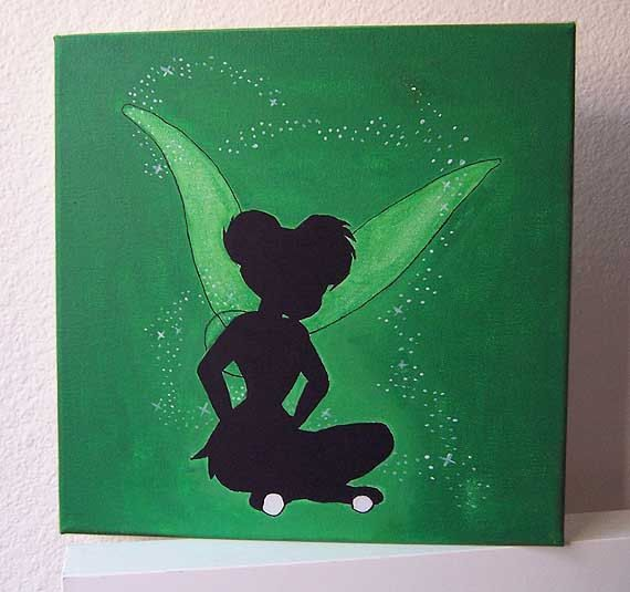 Disney Tinkerbell Acrylic Canvas Painting By Stardustcreationz 2000