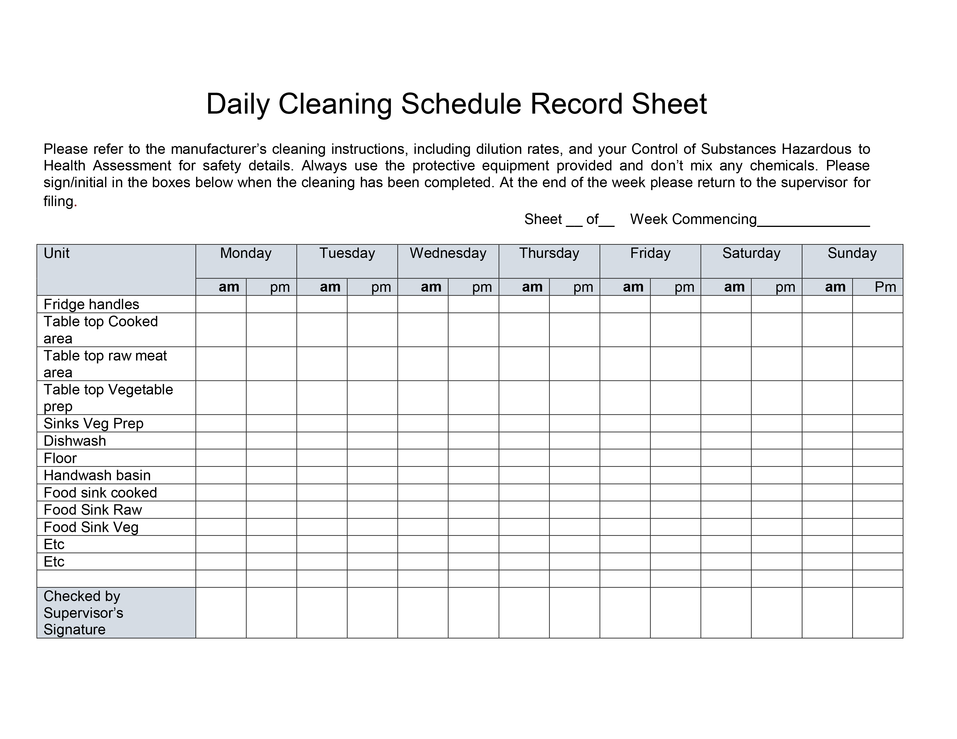 Kitchen Daily Cleaning Schedule Record Sheet. Please refer