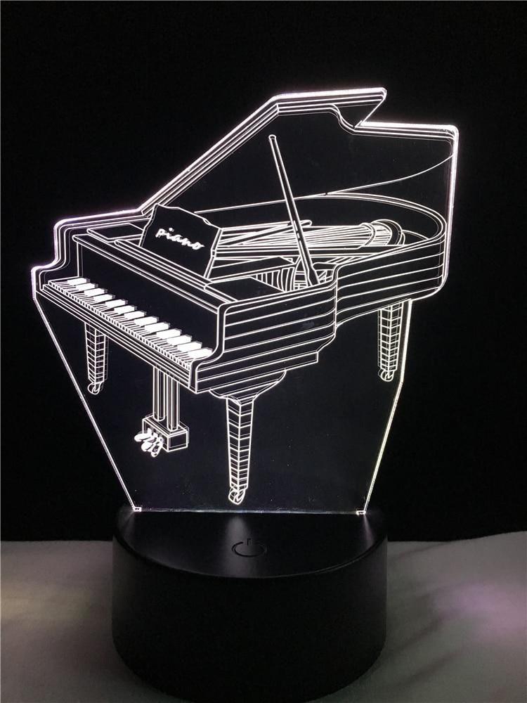 Music Piano Shap 3d Night Light 3d Illusion Lamp Multicolor Led Desk Us 5 80 3d Illusion Lamp 3d Led Lamp 3d Night Light