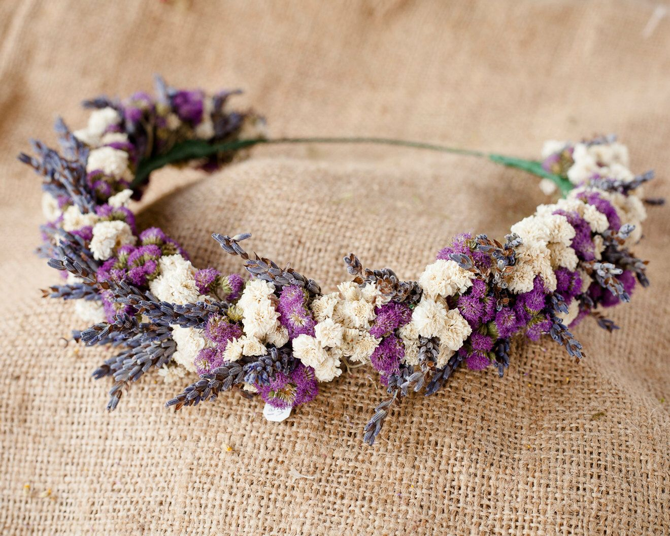 Les Deux Violet Flower Crown Lavender Babies Breath Ageratum 20 Diy Flower Crown Flower Crown Flower Crown Wedding
