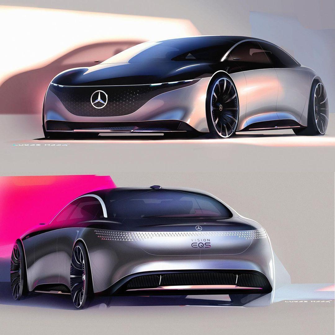 """Gefällt 1,047 Mal, 2 Kommentare - Car Design Sketch (@cardesignsketch) auf Instagram: """"Mercedes-Benz Vision EQS press sketches by Lukas Haag, exterior designer at Mercedes Benz"""""""