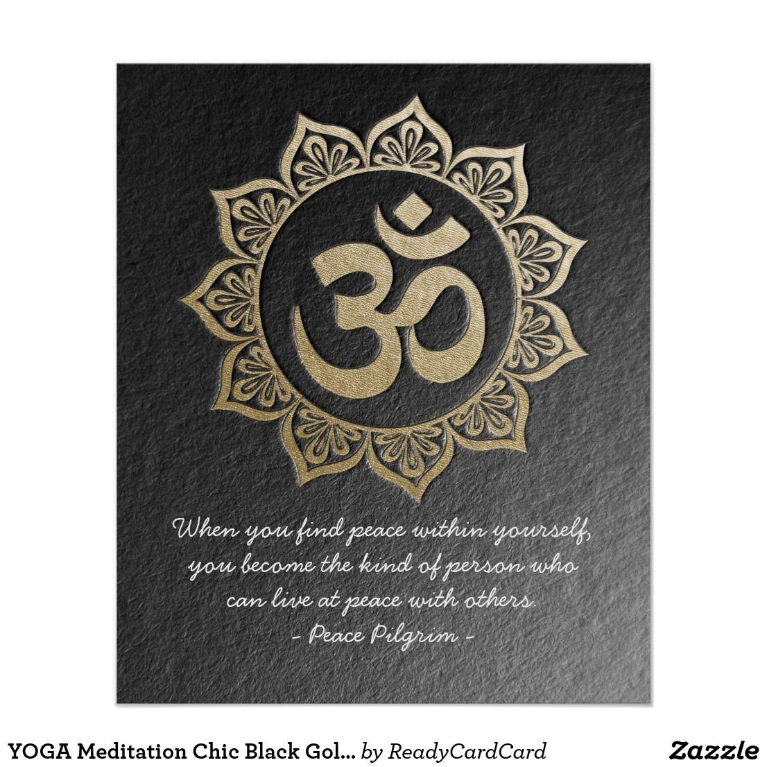 YOGA Meditation Chic Black Gold OM Mandala Quotes Poster ...