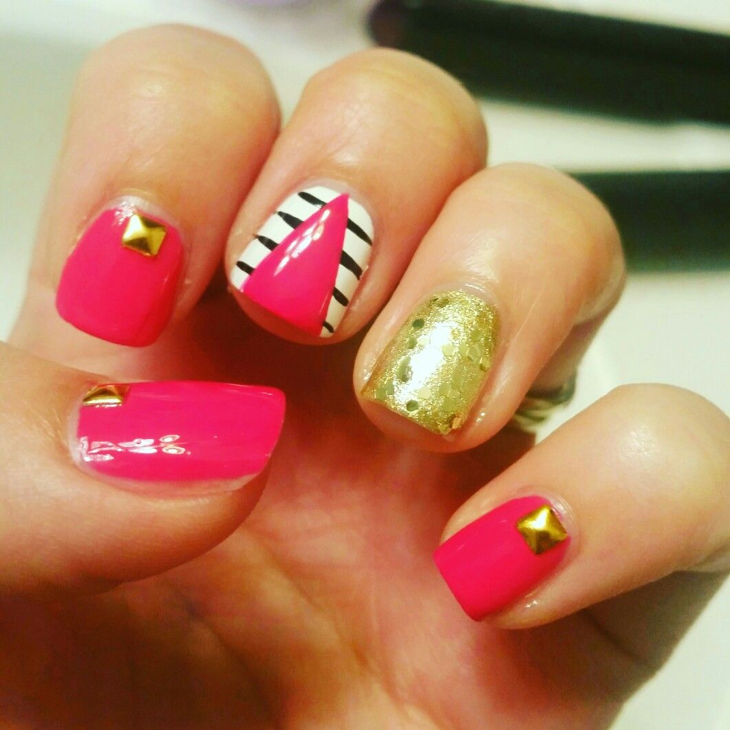 Hot pink nail art. Gold studs! Hotttt | MY nail designs ...