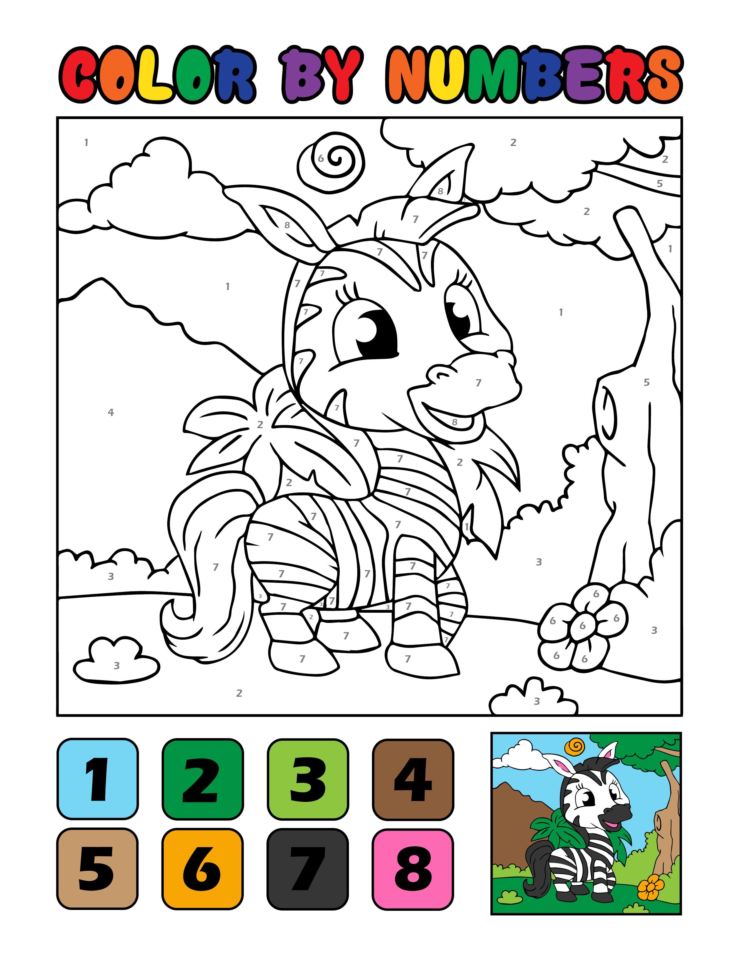 Color By Numbers Zebra Cute Coloring Pages Free Coloring Pages Animal Coloring Pages
