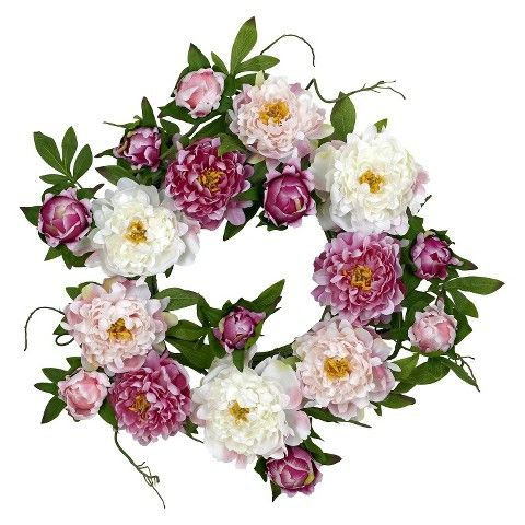 Nearly Natural Artificial Peony Wreath - Multicolor