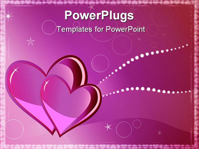 Two Hearts In Pink Tones Valentines Greeting Card Powerpoint