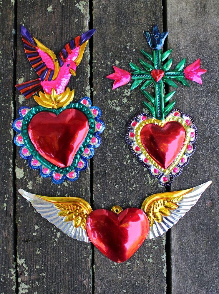 Authentic Messicano TIN MINI CUORE MILAGRO Handcut TIN Folk Art #001