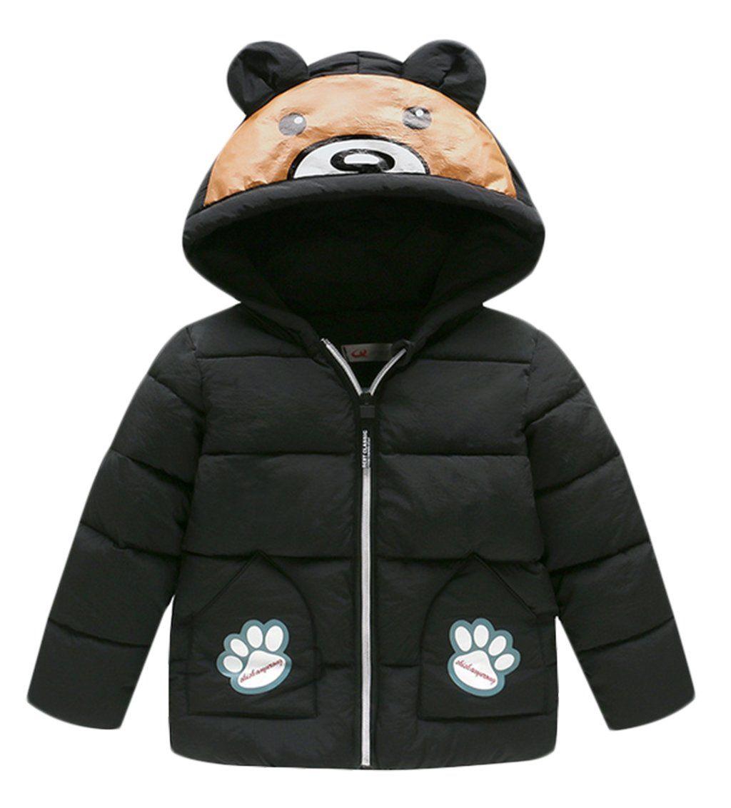 12ac0066b Kids Boys Girls Winter Puffer Cartoon Bear Coat Hooded Thicken Down ...
