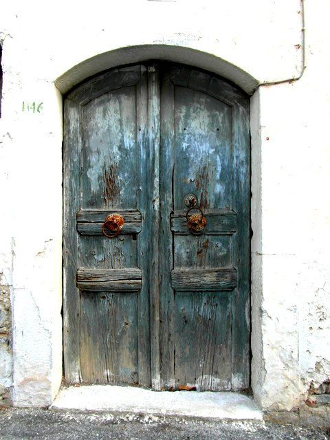 Photo of Photography print. Blue door, Greece photography, Mediterranean decor, door knocker wall art, textured door, rustic wall decor, rustic print