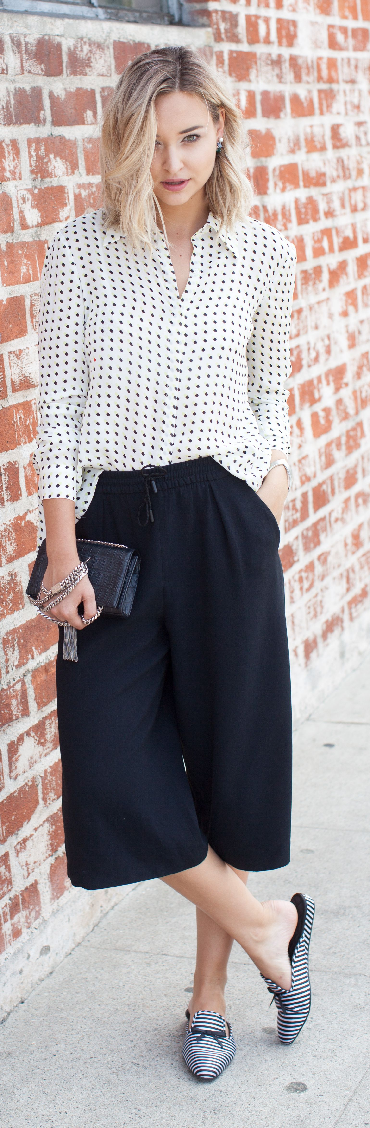 Polka Dot Shirt Black Culottes by Late Afternoon