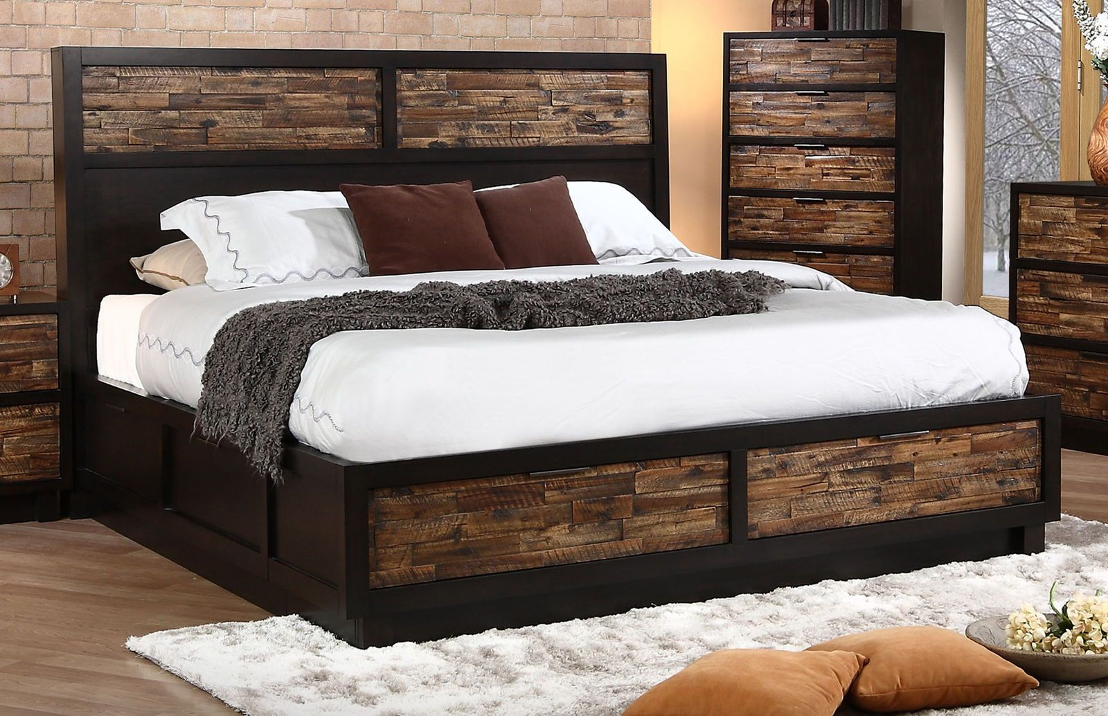 New Classic Makeeda California King Storage Bed In Rustic Rustic Storage Bed King Storage Bed Bed Designs With Storage