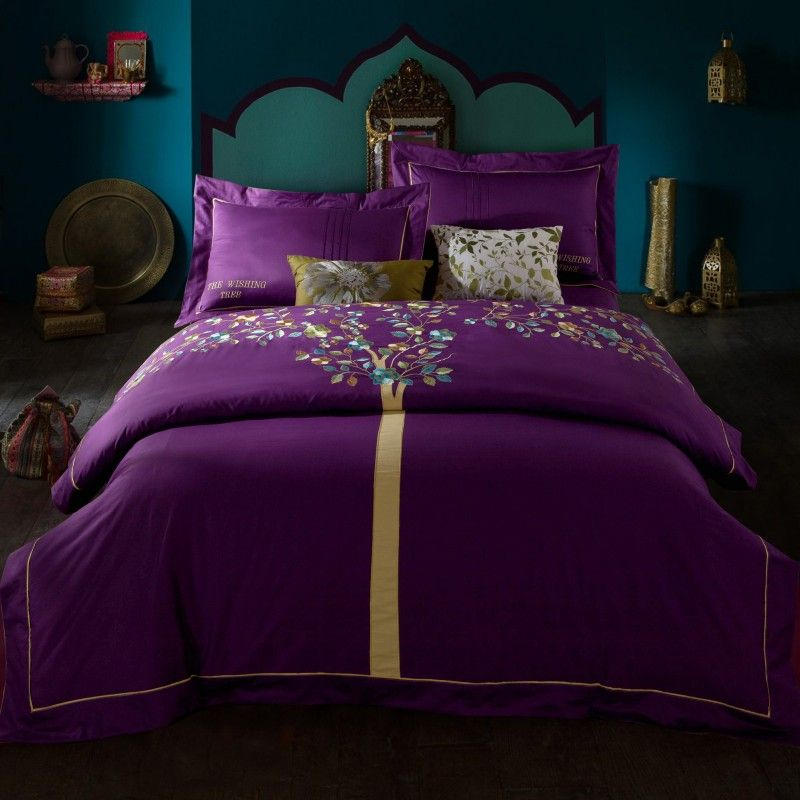 memorecool home textile retro design exquisite embroidery 4 piece bedding set cotton twill applique flower quilt cover purple wishing tree luxury princess