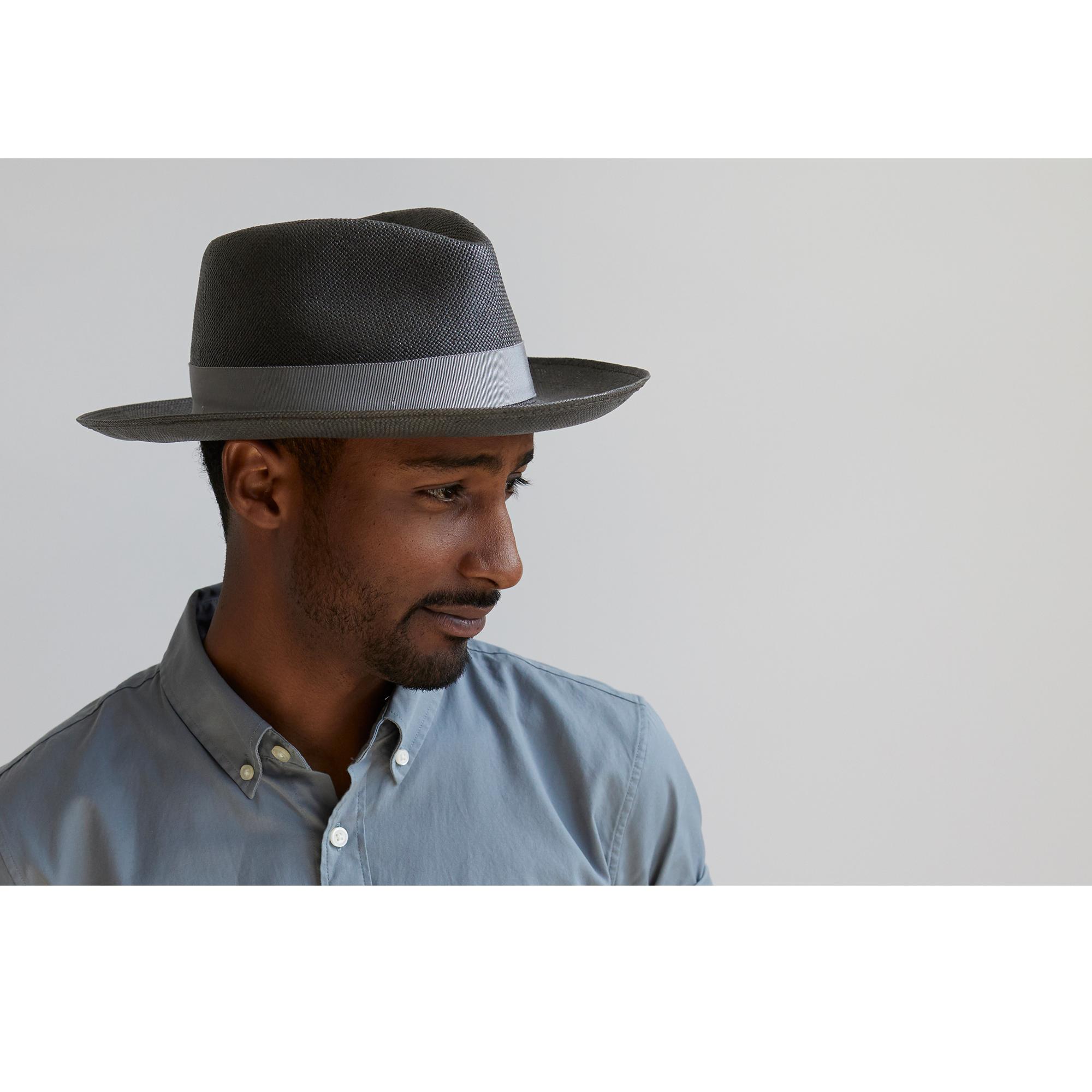 Goorin Mr. Cash Brim Fedora Hat w/ Sweatband in Black, size Small