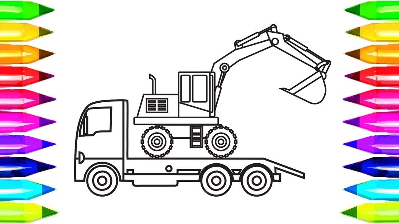 Excavator Truck Coloring Pages Learn Colors With Book Video K