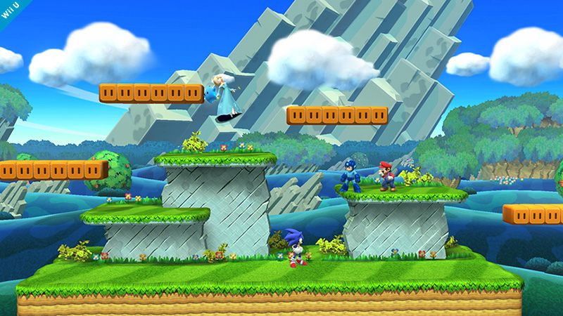 Mushroom Kingdom U Is A Stage Appearing In Super Smash Bros For Wii U And Takes Inspiration From New Super Mario Br Super Smash Bros Smash Bros Smash Bros Wii