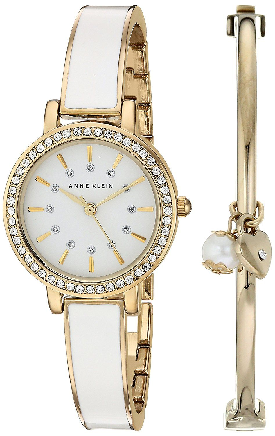 54b68eaa8873 Anne Klein Women s AK 2364WTST Swarovski Crystal Accented Gold-Tone and  White Watch and Bangle Set – Investment Shopping