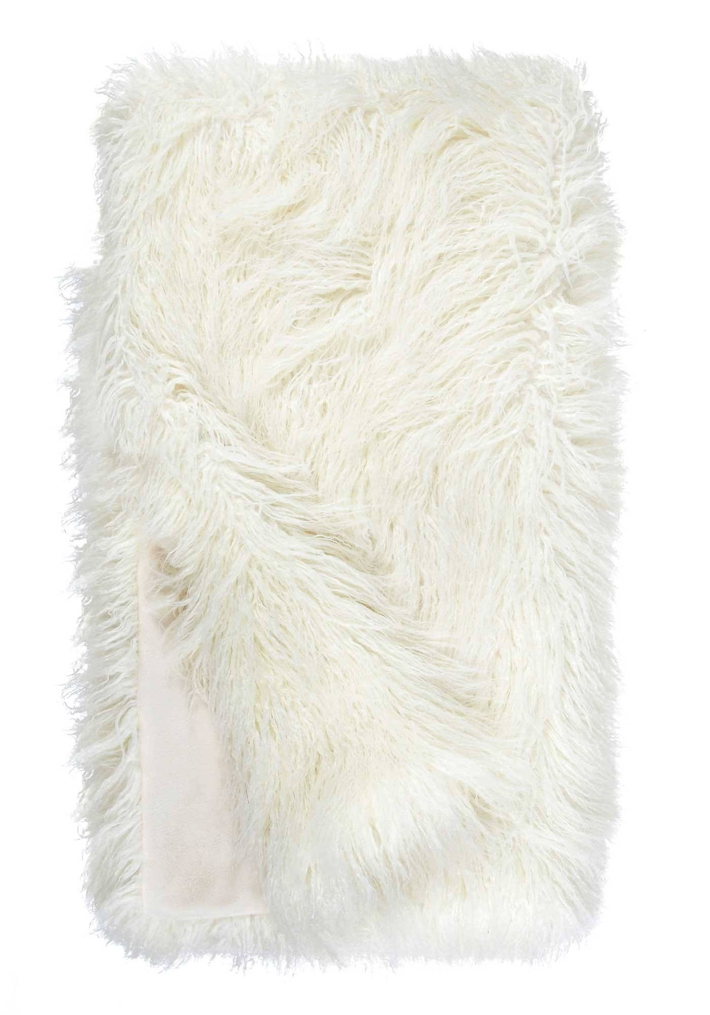Ivory Tibetan Lamb Signature Series Faux Fur Throw Blanket By