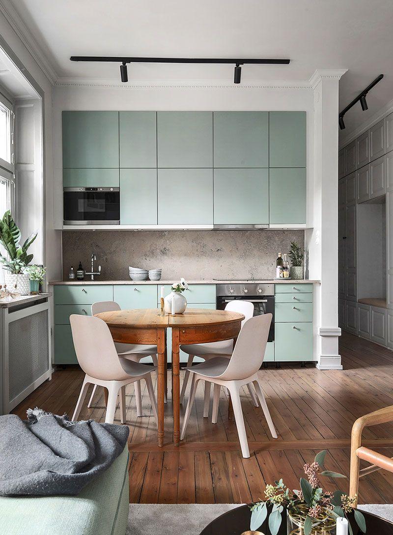 Серо-зеленая гамма в интерьере шведской квартиры (59 кв. м ...