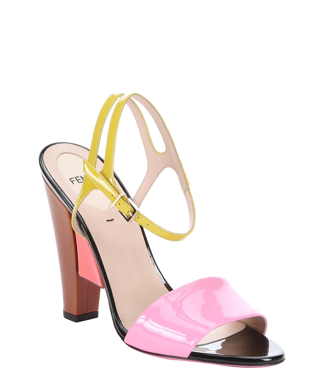 design di qualità 2068a 026e7 FENDI Rose And Lime Colorblocked Patent Leather Geometric Sandals ...