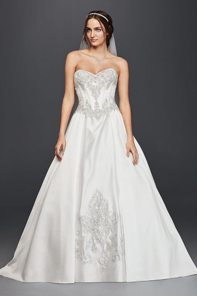 d37a02ff8 Extra Length Satin Sweetheart Corset Ball Gown Wedding Dress Wedding Dress  - Soft White