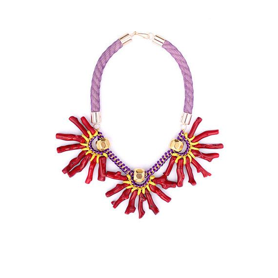 Natural Red Coral Statement Bib Necklace Purple Necklace
