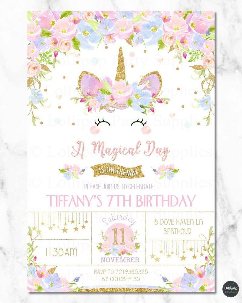 Unicorn Invitation Invite Girl 1st First Birthday Party Rainbow