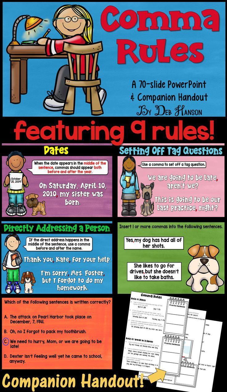 Comma PowerPoint (includes a companion handout) | Language arts ...