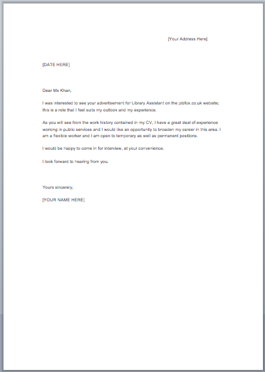 Cover Letter Examples Job Fox Uk Motivation