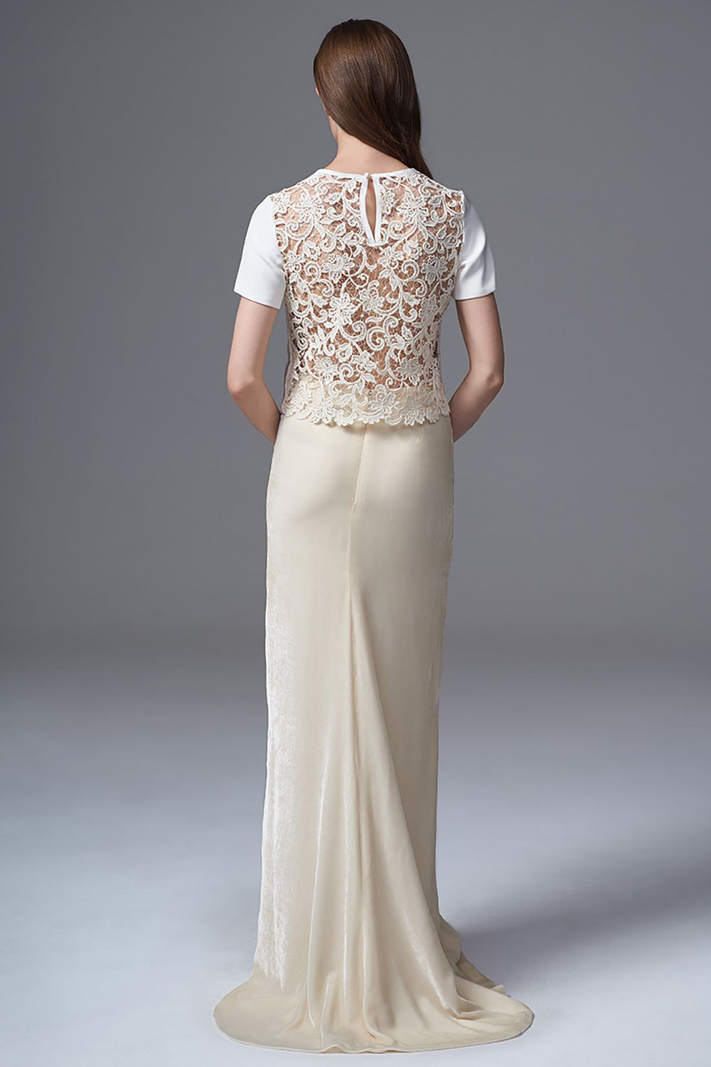 Conservative wedding dresses  THE MARTHA FRENCH GUIPURE AND CREPE TEE WORN WITH THE CELINE VELVET