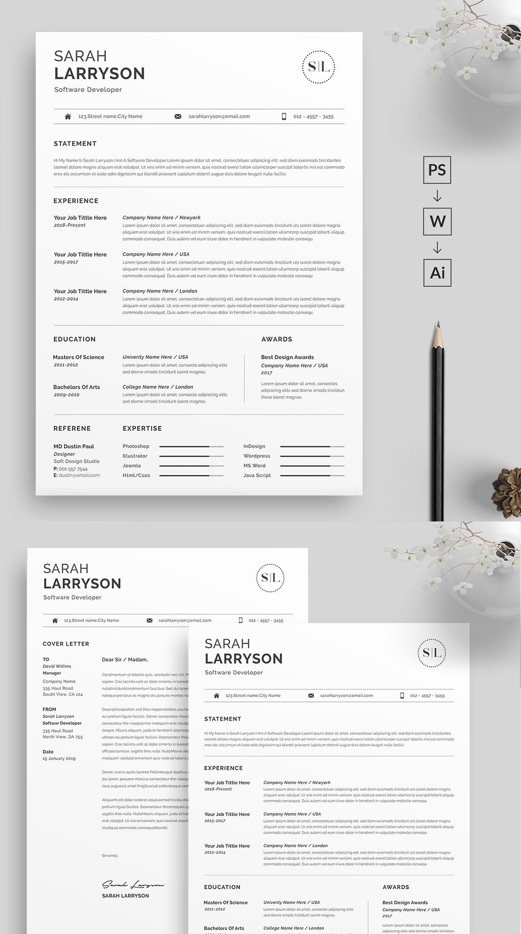 2 Page Professional & Modern Resume/cv template to help