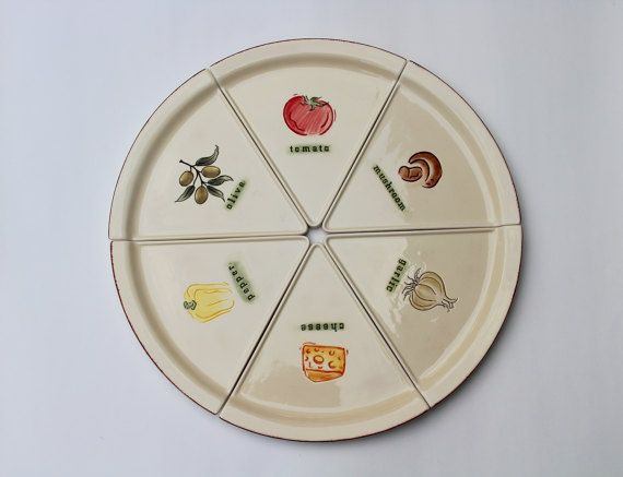 Ceramic Pizza Plate  Handpainted Stonelite Clay  Florida Market Place Dishes  Large Ceramic Pizza Plate  Pizza Slice Shaped Plates  sc 1 st  Pinterest & Ceramic Pizza Plate  Handpainted Stonelite Clay  Florida Market ...
