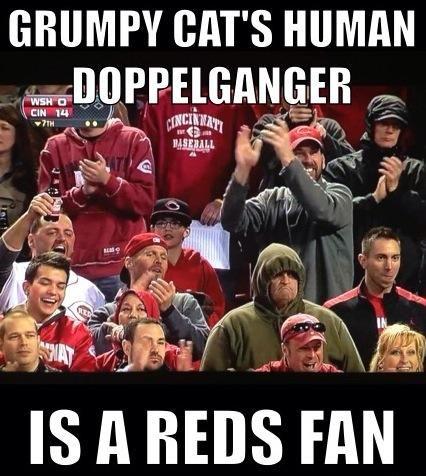 Grumpy Cat S Human Doppelganger Is A Cincinnati Reds Fan Grumpy