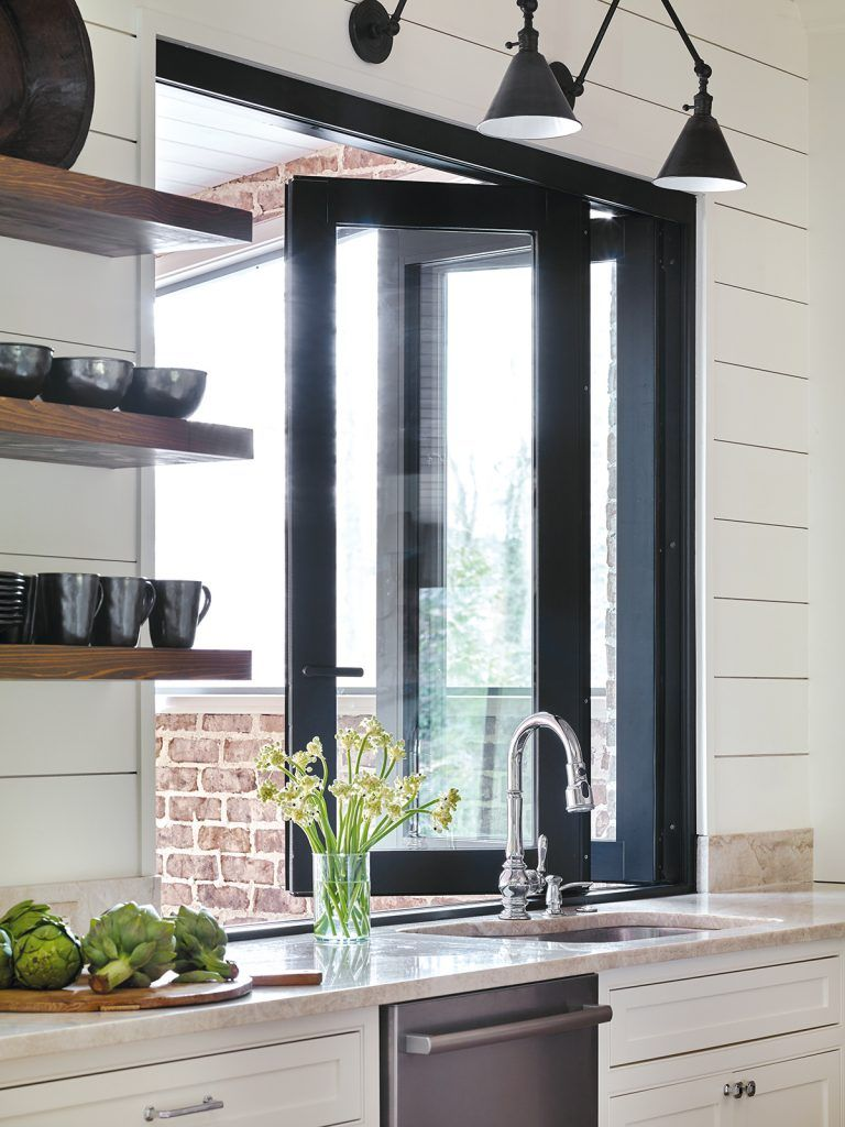 Kitchen servery window ideas  bifold servery doors at the kitchrn sink modern farmhouse