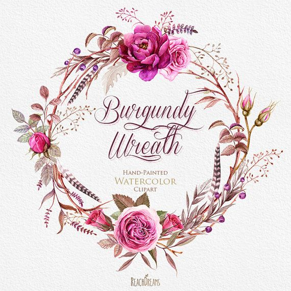 Photo of Watercolor Burgundy Wreaths with Floral elements and Feathers. Boho style, Stag horns, Individual PNG files. Wedding Invitations Clipart