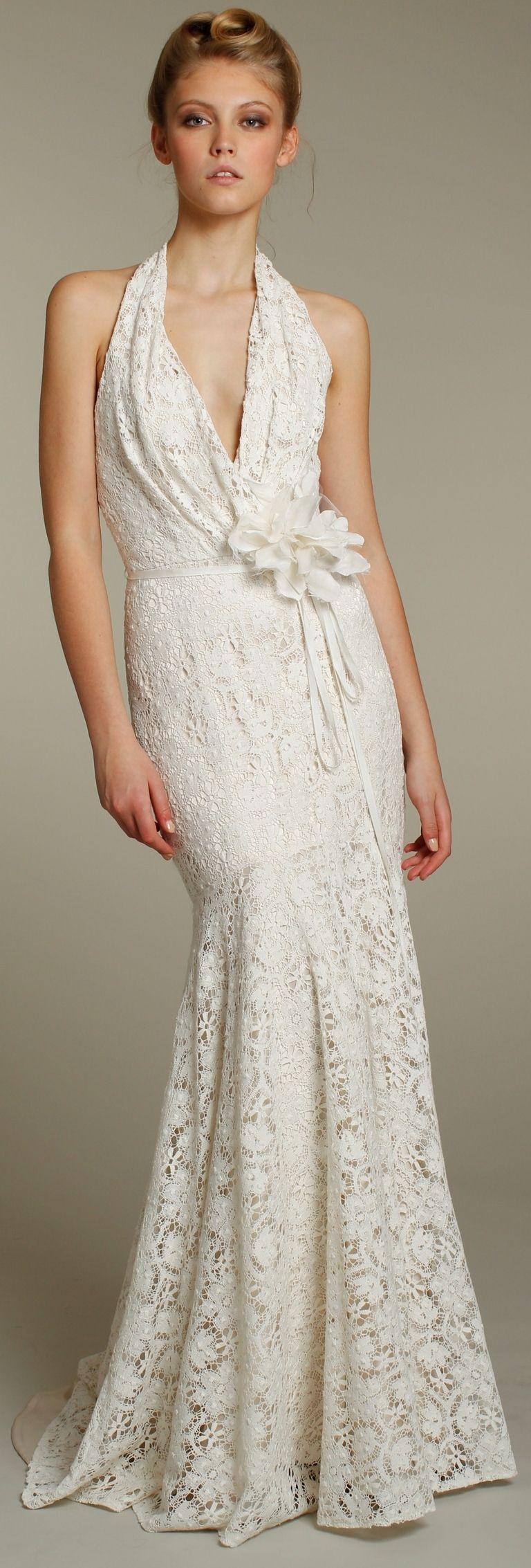 Romantic lace mermaid halter wedding dress with embellished bridal