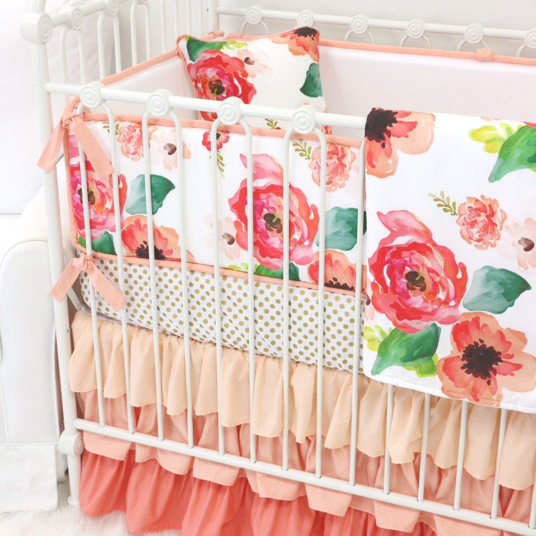 Boho Chic Floral Ruffle Crib Bedding Crib Nursery And Crib Skirts