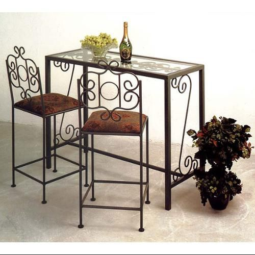 Charmant Fremont Glass Top Wrought Iron Bar Set W 2 Counter Stools (Buff Levante,  Antique