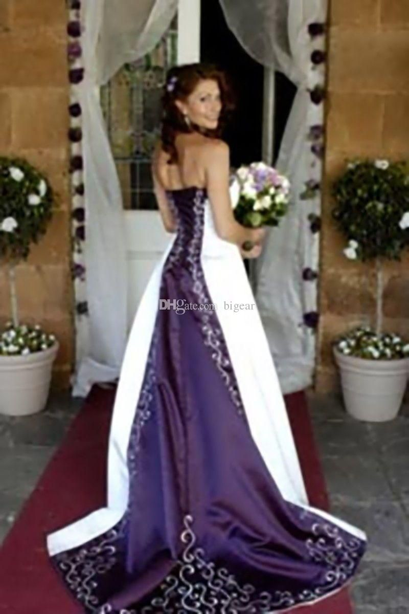 Discount Strapless White Purple Embroidered Wedding Dresses Plus Size Beach From Bigear