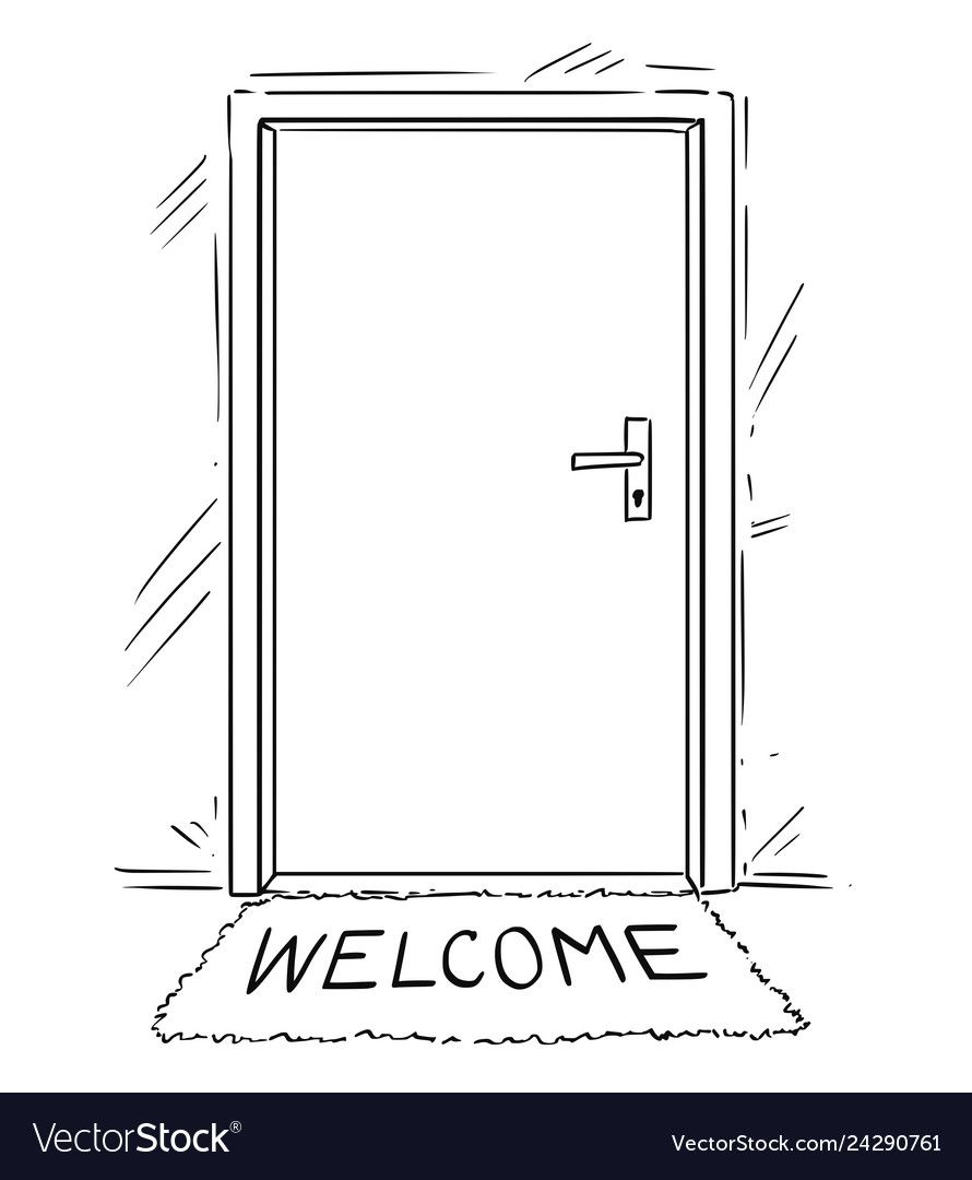 Cartoon Drawing Of Closed Door With Welcome Text Vector Image Sponsored Closed Drawing C Cartoon Drawings Conceptual Drawing House Warming Invitations