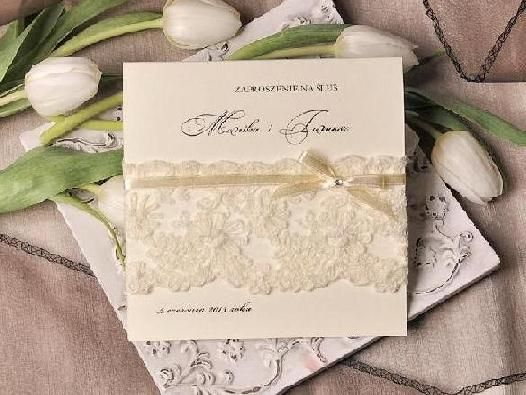 Zaproszenia Slubne Koronki Haftowane Cudo W 5 Dni 3044861041 Oficjalne Archiwum Allegro Wedding Invitations Invitations Place Card Holders