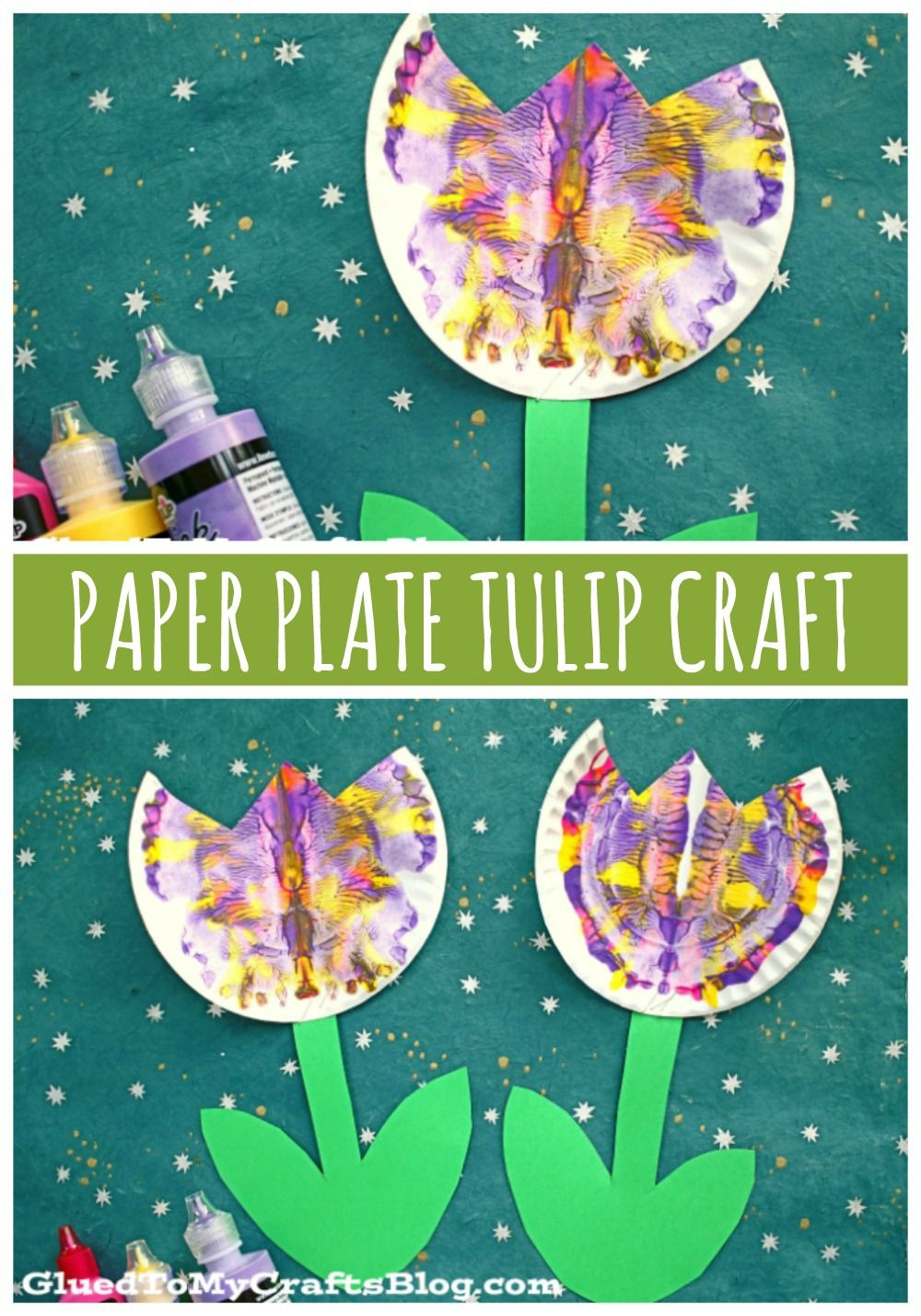 Paper Plate & Paint Splat Tulip – Craft Idea For Spring